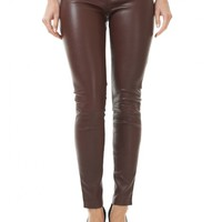 Burgundy Skinny Leather Pant