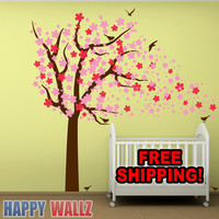 Wall Decal Cherry Blossom Tree Nursery Kids Babys Room Sticker Vinyl Art for baby nursing Decor Vinyl Toddler Girls room
