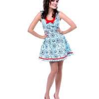 Blue & Black Tentacle Dress - Unique Vintage - Prom dresses, retro dresses, retro swimsuits.