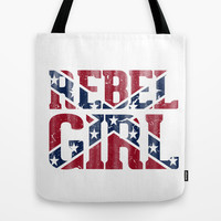 Rebel Girl Vintage Southern Confederate Flag Tote Bag by RexLambo
