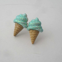 glitter mint ice cream cone earrings