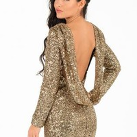 Gold Sequin Drape Back Long Sleeve Mini Dress