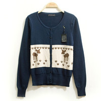 Cute Reindeer and Bead Accent Thin Knit Cardigan
