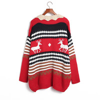 Cute Peter Pan Collar Navy or Red Reindeer Knit Sweater