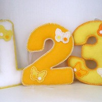 Lemon Butterfly Felt Number Decorations | Luulla