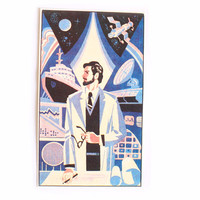Scientist print Soviet propaganda USSR graphic Communist art 6.9 x 4 inches