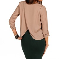 Taupe Tulip Back Top