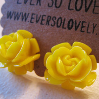 large canary yellow rose earrings