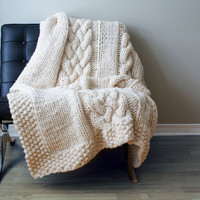 "Throw Blanket Super Chunky Double Cable Acrylic Throw Blanket / Rug Approximately 49"" x 64"""
