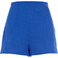 Blue boucle high waisted shorts