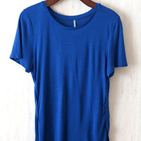 Year-Round Power Tee, Cobalt Blue (Solid Version of the Flower Power Tee)