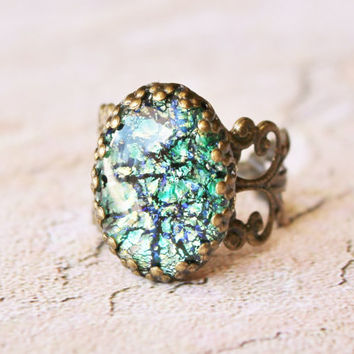 Vintage Fire Opal Ring - RARE Green Fire Opal Glass,Adjustable Brass Filigree Ring,Weddings Bridesmaids Jewelry,Antique,Birthstone Jewelry