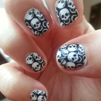 TINY SKULLS Nail Art Decals - Full Nail Decoration Long and Short Nails - BLACK Transparent Gothic Waterslide Stickers