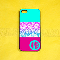 iPhone 5s Case, iPhone 5 Case, Cute Damask Pattern with Monogram iPhone 5 Case  iPhone 5, iPhone 5c Case, Unique iPhone 5c Case