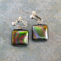 Multicolored Clip on Earings, Dichroic Clip Earrings, Fused Glass Jewelry, Multicolored Jewelry - Reynolds - 1938 -1