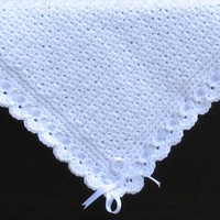 Luxuriously Soft Heirloom Baby Blanket, White w/ White Border, White Ribbon, Perfect for Baby Showers, Baptisms, Christenings