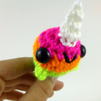 Neon Rainbow Striped Baby Narwhal  Ready by SyppahsCuteCreations