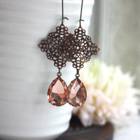 Antiqued Copper Filigree, Vintage Peach Glass Jewel Long Dangle Earrings. Bridesmaid Gifts. Vintage Style. Antiqued Style Peach Wedding.