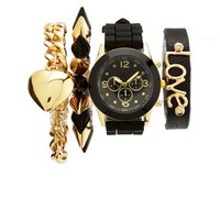 Rubber-Link Watch & Bracelets, 4-Piece Set: Charlotte Russe