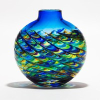 Optic Rib Flat Peacock with Cerulean  by Michael Trimpol: Art Glass Vase - Artful Home