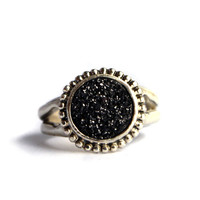 Handmade Black Drusy Ring with Split Shank in Beaded Border by Rachel Pfeffer Designs