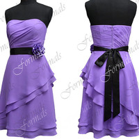 Strapless Knee Length Purple with Black Sash Chiffon Short Bridesmaid Dresses, Short Prom Dresses, Cocktail Dresses, Wedding Party Dresses