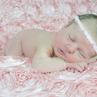 BONUS: Pink Rosette Blanket with Headband for Newborn Photo Shoot, Photo Prop, Photography Backdrop,  7 Colors