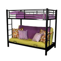 Twin over Futon Metal Bunk Bed - Black : Target