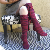 Knee High Socks Black Cherry with ties hand by pinkcandystudio