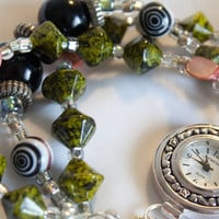 Green and Black Beaded Watch Bracelet by AmandaBess on Etsy