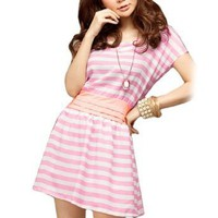 Allegra K Women Bar Striped Scoop Neck Bat Sleeve Dress Pink White S