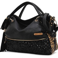 Elegant Sequined Leopard Handbag