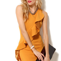 Pique Ruffle Front Dress in Mustard