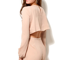 Pleat Wrap Open Back Romper in Taupe