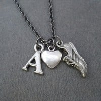 I LOVE TO RUN INITIAL Running Necklace - Pewter Charms priced with Gunmetal Chain