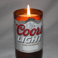 Recycled Beer Bottle - Coors Light -  Goblet Candle Set - Custom Made