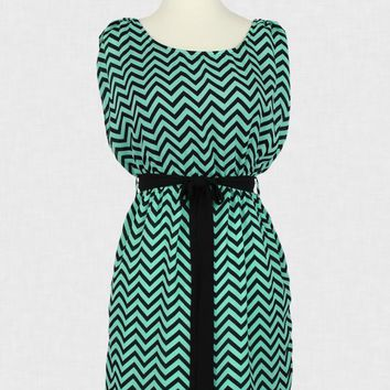 Teal & Black Chevron Tie Waist Dress