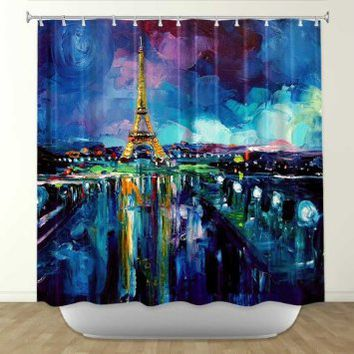 Shower Curtain Artistic Designer from DiaNoche Designs by Artist Aja Ann Unique, Cool, Fun, Funky, Stylish, Decorative Home Decor and Bathroom Ideas - Parisian Night Eiffel Tower