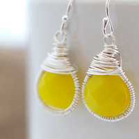 Yellow Earrings Wire Wrapped Earrings Quartz by Jewels2Luv