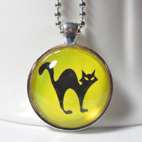 Black Cat Necklace with 24 inch chain included, Yellow, Halloween Jewelry