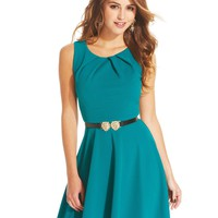 City Studios Juniors Dress, Sleeveless Belted A-Line - Juniors Dresses - Macy's
