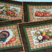 Autumn or Thanksgiving Place Mats in Orange, Greens, Brown, and Yellow