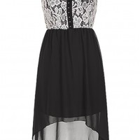 The Strap Lace Black High Low Dress