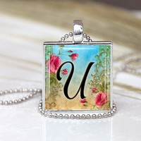 Initial Letter U Vintage 1 inch Scrabble Glass Square Pendant Necklace