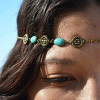 Chain Headpiece Boho Head Jewelry Bohemian Headband Headdress Gypsy Jewelry Chic Bohemian  Hair Jewelry Sabina Bronze Turquoise