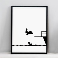 Diving Rabbit Print