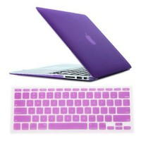 "HDE® Frosted Rubberized Hard Shell Case + Matching Keyboard Skin for Macbook Air 11.6"" A1370 and A1465 models (Lavender)"