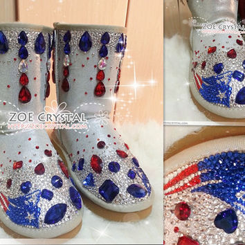 Football NEW ENGLAND PATRIOTS Style Winter White Sheepskin Fleech/Wool Boots