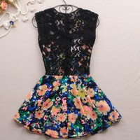 Slim Dress Lace Stitching Color