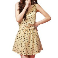 Allegra K Women Scoop Neck Sleeveless Swallow Print Beige Chiffon Dress